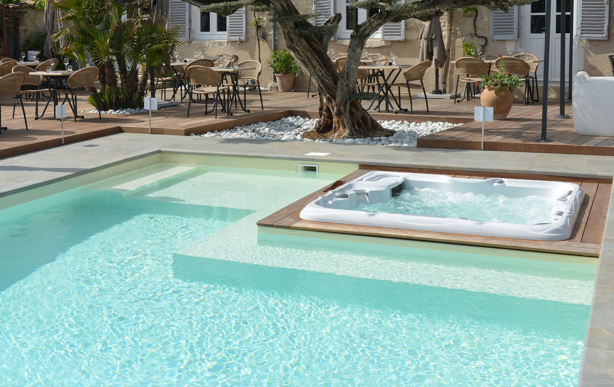Sundance Spas installation with pool
