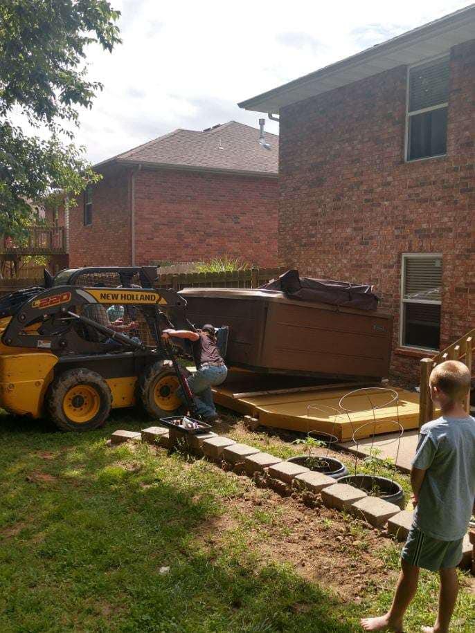 Hot tub in backyard Installation in Springfield MO