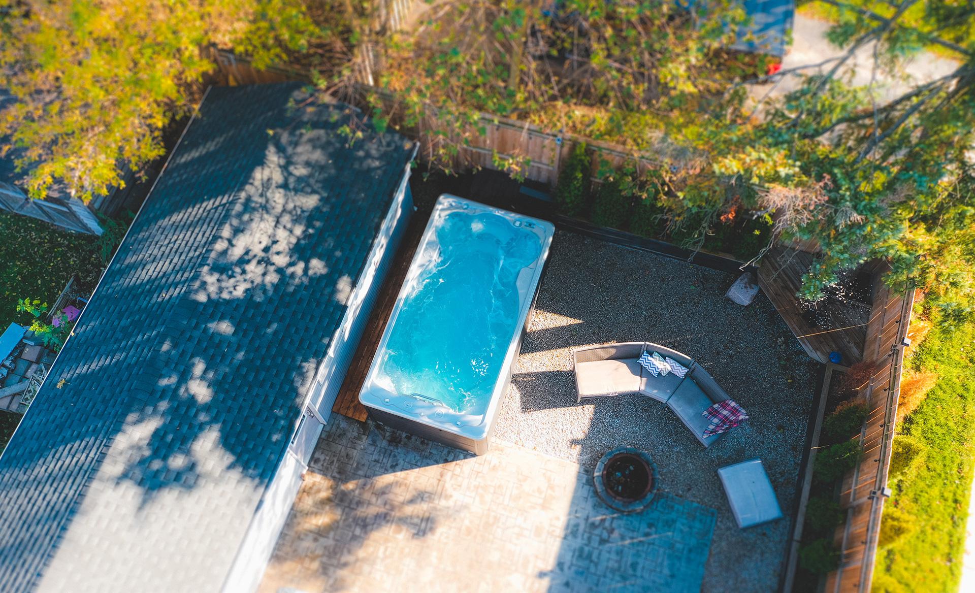 overview shot of swimlife swim spa