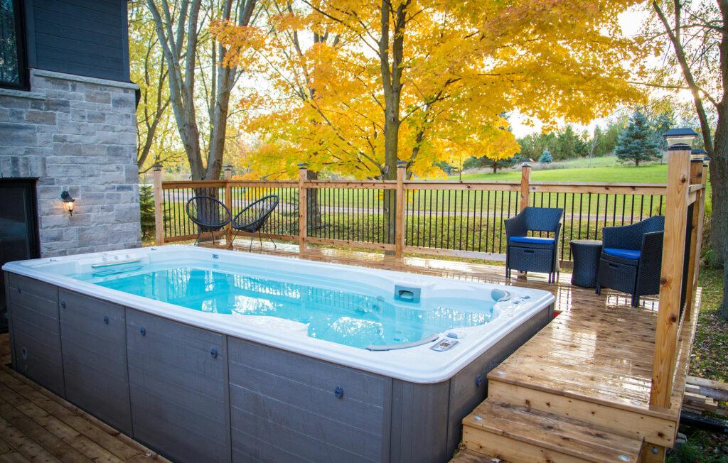 swimlife swim spa with built around deck installation