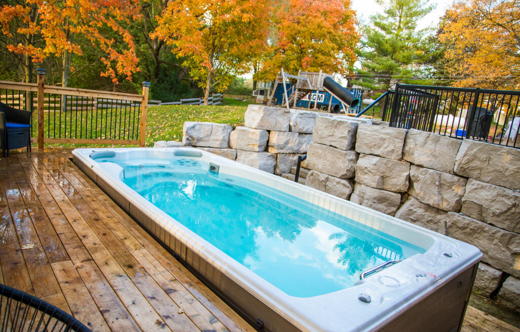 swimlife swim spa with built in deck installation
